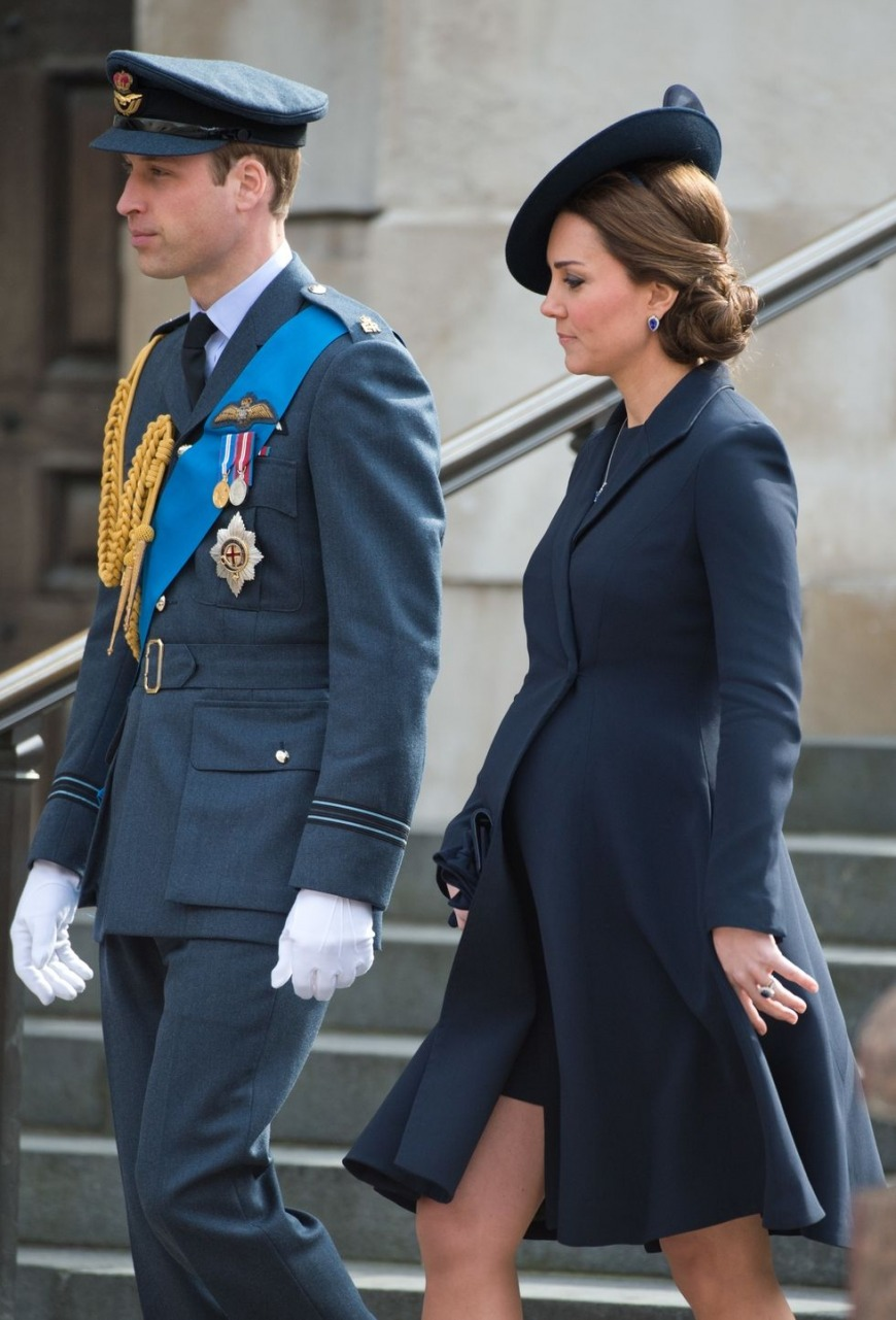 This royal navy blue Beulah coat suits the Duchess well