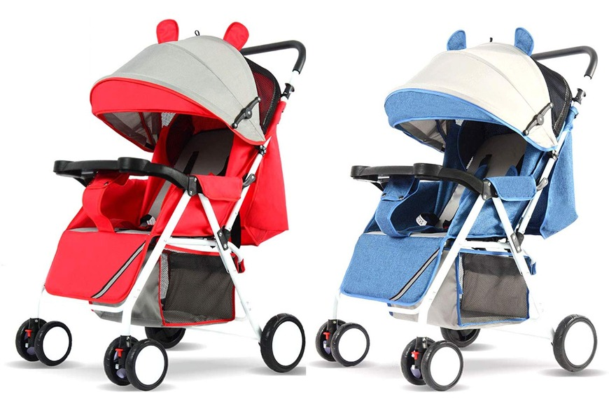 Animal-ear one-hand fold baby stroller