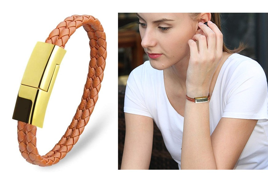 USB Charging Cable Bracelet Portable Leather
