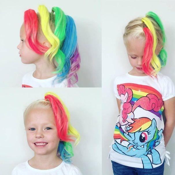 Girl hairstyles for summer - rainbow dash hair