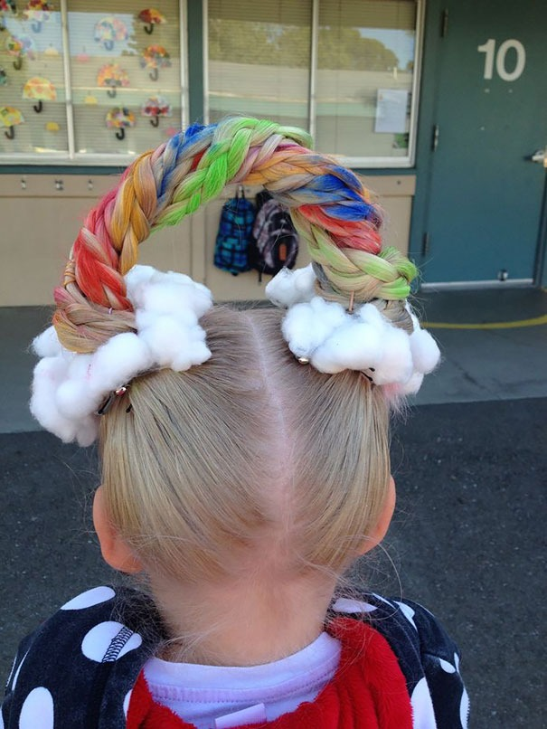 Girl hairstyles for summer - rainbow