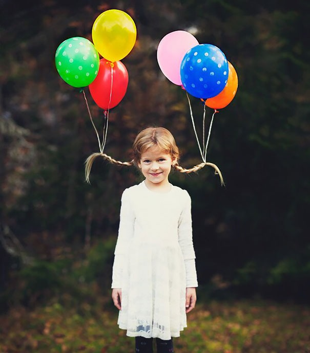Girl hairstyles for summer - balloons