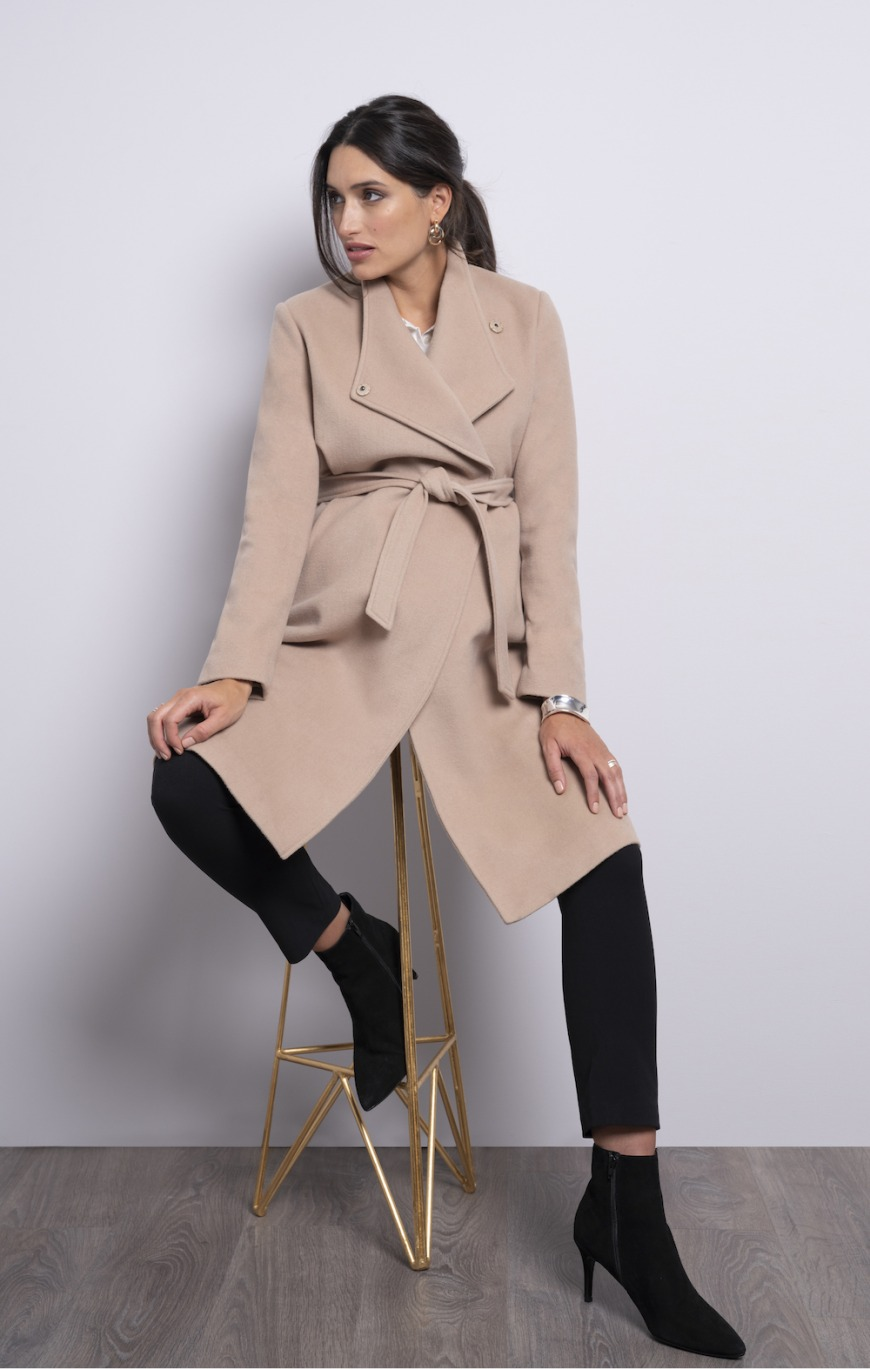 Seraphine Wool Camel Maternity Coat