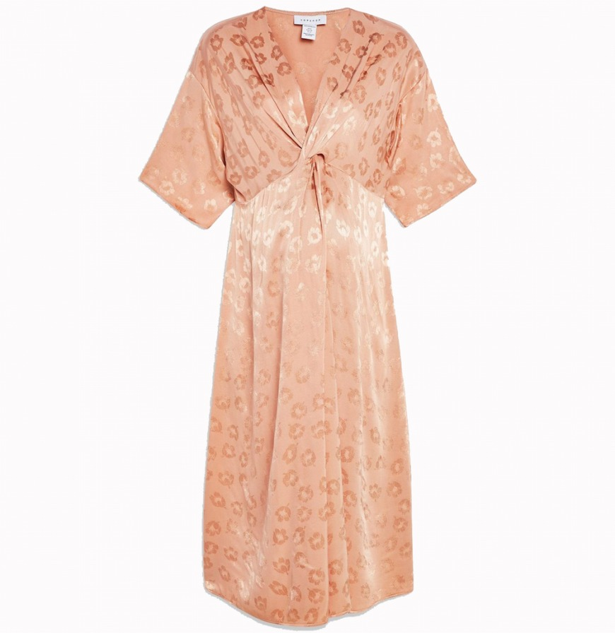 Topshop Maternity Jacquard Knot Midi Dress