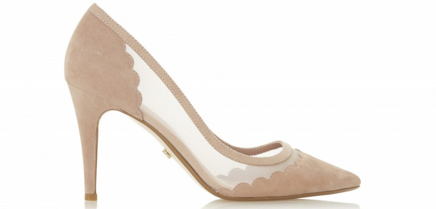 Dune London Bellevue Cappuccino Suede Scalloped Court Shoe