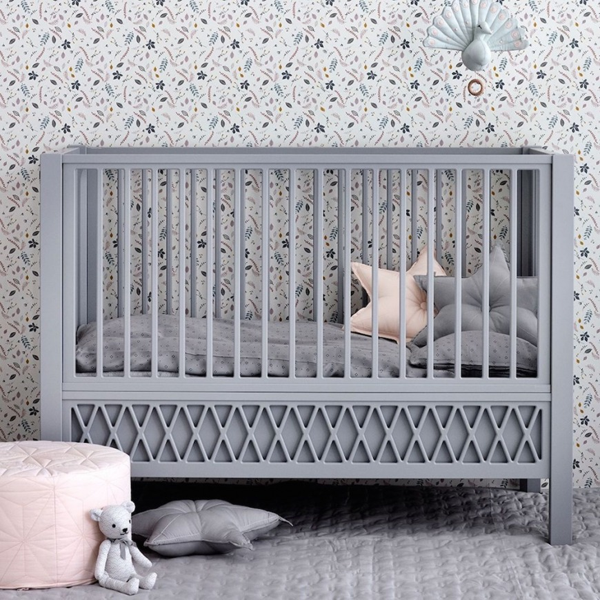 Harlequin Baby Cot Bed, Grey