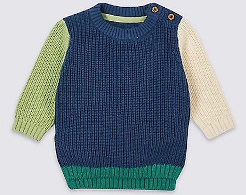 Marks and Spencer Pure Cotton Colour Block Jumper