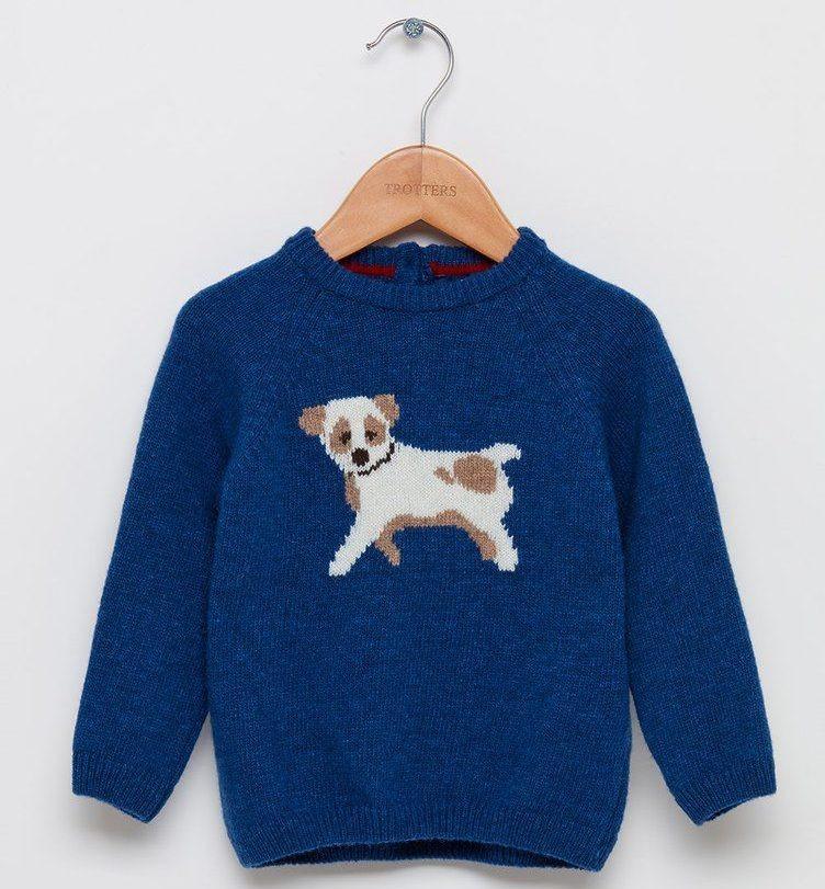 Thomas Brown Denim Blue Little Puppy Jumper