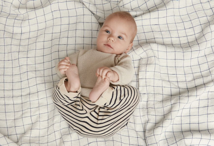 FUB Ecru Ribbed Knit Baby Sweater