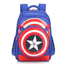 #1. Captain America School Bag With Pencil Case & Lunch Bag Blue