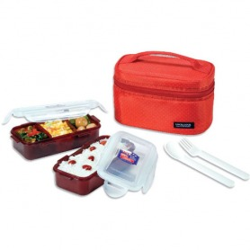 #5. Lock & Lock Red Lunch Bag With 2 Boxes