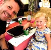 Lee encourages his daughter Olive to grow her own veg